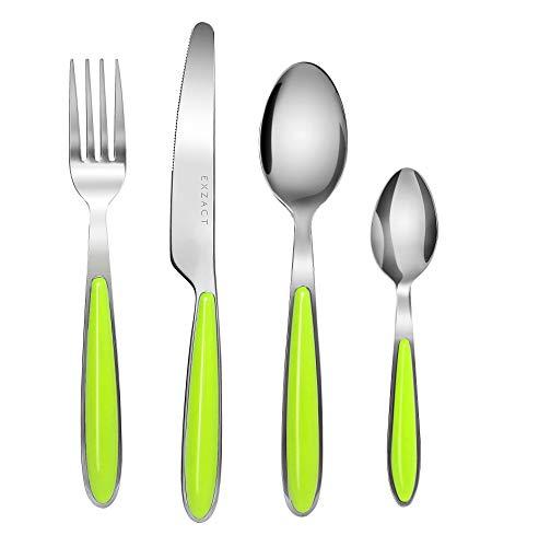 EXZACT Rostfrei Stahl Besteck Set einem Plastikhalter 24 PCS - Farbige Griffe - 6 Gabeln, 6 Messer, 6 Löffel, 6 Teelöffel - Grün (EX07 x 24)