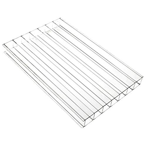 Clear, 1 x 3.5m (Width x Length) 10mm Multiwall Polycarbonate Sheets Poly Plastic Roof Panel for Lean-to Canopy Conservatory