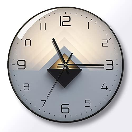 WANGFENG Reloj de Pared de Lujo con luz Simple, Reloj de Cuarzo con Personalidad de celebridades de Internet, Reloj de Pared con luz y Sombra, Reloj de Pared silencioso para Sala de Estar
