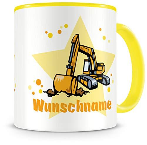 Samunshi® Kindertasse mit Namen Tasse Bagger Personalisierte Tasse mit Namen Kinder Kinderbecher mit Namen Kindergarten gelb 300ml