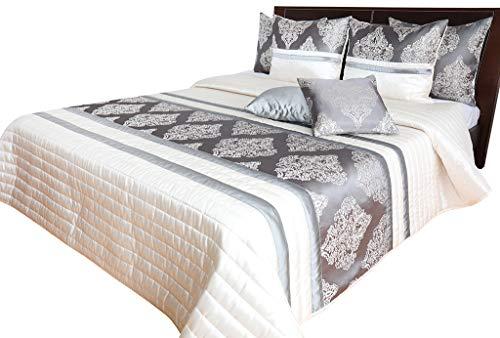 Rodnik Tagesdecke 3 TLG Set Bettdecke Überwurf Orient mit 2 Kissenhüllen gesteppt gefüttert GRAU Creme