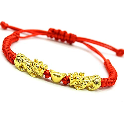 UPANV Feng Shui Red String Bracelet with Double Pi Xiu/Pi Yao And Golden Wealth Ingots Bracelet Jewelry The Best Bracelet Attract Wealth And Good Luck