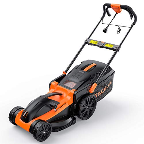 TK Electric Lawn Mower, 11 Amp, Corded Lawn Mower, 16-Inch Cutting Width, 6 Cutting Heights Adjustable (25 mm-75 mm), 2 Handle Height Settings, Folded Storage, 15.8 Gal Collection Bag, KALM1340A