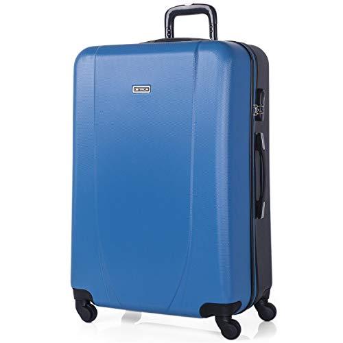 ITACA - Maleta de Viaje Grande XL Rígida 4 Ruedas Trolley 75 cm de ABS. Práctica Cómoda y Ligera. Gran Capacidad Bonito Diseño. Estudiante y Profesional. 71170, Color Azul-Antracita