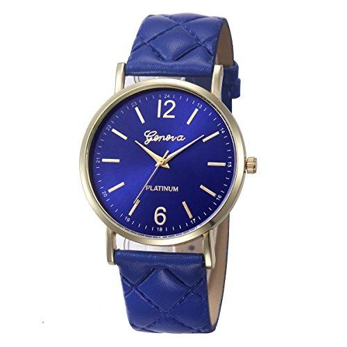 Damen Genfer Uhren mit Klassisch Ultradünn Minimalistisch Mode Leder Rund Watch Ø 35mm Geschenkuhr Analog Quarzuhr Mode Elegant Beiläufig Kleid Uhr Schlank Einfachheit Geschäft (Navy Blue)