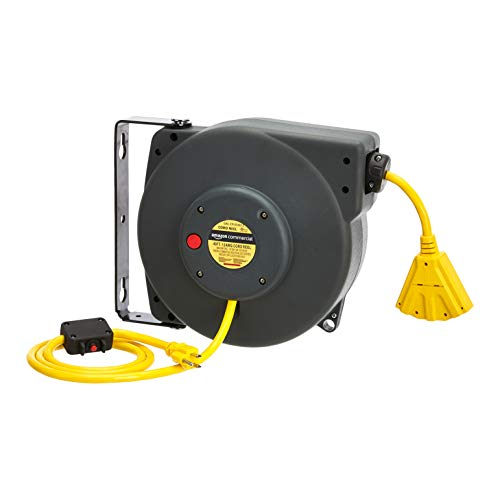 AmazonCommercial Extension Cord Reel Heavy Duty Retractable 12AWG x 40' Feet Industrial Grade 3C/SJT Cable with Triple Tap Connector and Swivel Bracket Power Rating 15A 125VAC 1875W 60Hz