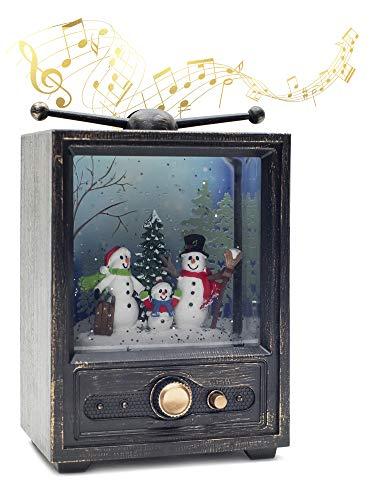 Vita Domi Antique Bronze 7.25' Musical TV Snowman Family Lighted Water Lantern Snow Globe with Swirling Glitter