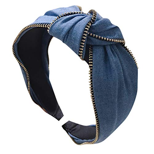 Fashion Jean Cloth Headband for Women Denim Fabric Zipper Middle Knotted Knit Wide-brimmed Headband Hair Hoop Hairband Accessories 2DXuixsh