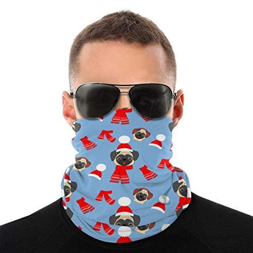 JONINOT Pug in Hat Modello Unisex Sciarpa per il viso Bandana Anelli per le orecchie Viso Rave Passamontagna Uomo Donna Ghette per il collo per polvere Vento Copertura per moto UV