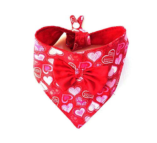 Glitter Patterned Hearts Valentines Day Christmas Cat Dog Bandana Bow Tie On Snap Closure Petwear Neckwear