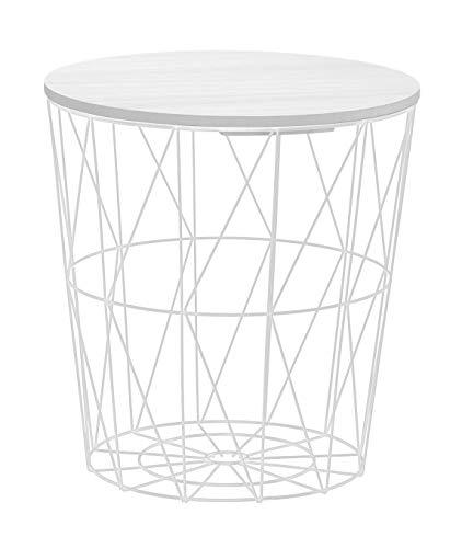 Beistelltisch Tisch mit Stauraum Couchtisch Korb Metall Holz Nachttisch weiß (Mittel: Ø 34 cm x H 36 cm)
