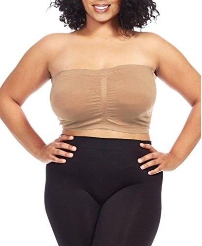 Dinamit Women's Plus Size Seamless Padded Bandeau Tube Top Bra Khaki 1X-2X