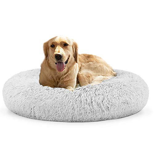 JINCHENG Calming Dog Bed Cat Bed Donut, Faux Fur Pet Bed Self-Warming Donut Cuddler, Comfortable Round Plush Dog Beds for Large Medium Small Dogs and Cats (24