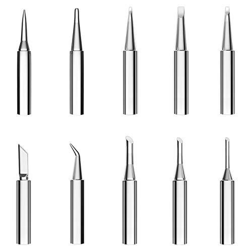 Hrroes 10 piezas Serie 900M-T Puntas de Soldador Reemplazable Solder Iron Tips Set para Estación de Soldadura Pistola de Soldadura