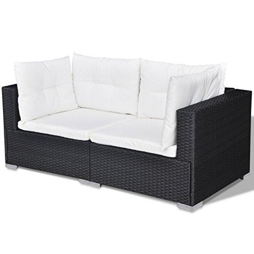 Festnight 32-TLG. Gartensofa Set mit 1 Teetisch Gartenlounge Garten Lounge-Set aus Polyrattan Loungegruppe Sitzgruppe für Terrasse Garten - Schwarz - 6