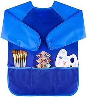 AMERTEER Kids Art Smocks, Children Waterproof Artist Painting Aprons Long Sleeve for Age 3- 8 Years (blue)