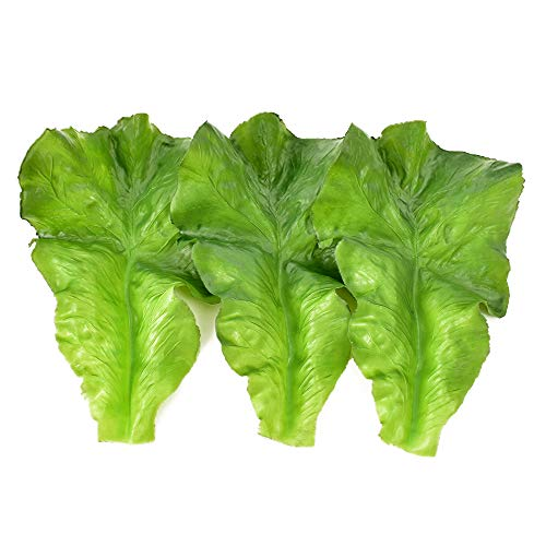 Hagao Fake Lettuce Leaves Artificial Vegetables Lettuces Simulation Plastic Lifelike for House Kitchen Party Pub Decoration Cabinet Ornament 3 pcs