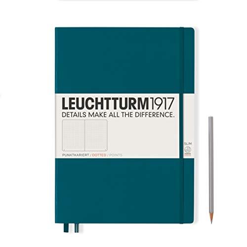 LEUCHTTURM1917 359790 Notizbuch Master Slim (A4+) Hardcover, 121 nummerierte Seiten, Pacific Green, dotted