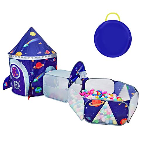 TTLOJ 3pc Outer Space Kids Play Tent Crawl Tunnel and Ball Pit with Basketball Hoop Playhouse Tent for Girls Boys for Outdoor Indoor, Lightweight Easy to Setup with Storage Case (Balls Not Included)