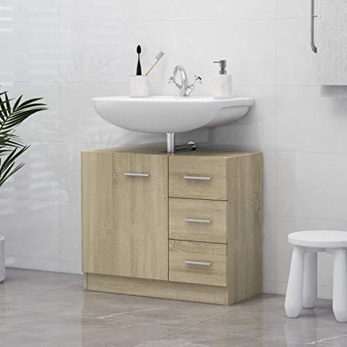 vidaXL Waschbeckenunterschrank Waschtisch Unterschrank Badmöbel Badschrank Badezimmerschrank Badezimmer Sonoma-Eiche 63x30x54cm Spanplatte