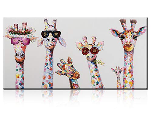 Large Giraffe Family Paintings, 100% Hand Painted Funny Animal Fashion Giraffe with Sunglasses Canvas Oil Painting Stretched and Framed Ready to Hang Living Room Bedroom Kidroom Bathroom (24x48inch)