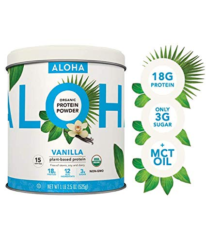 ALOHA Organic Vanilla Plant Based Protein Powder with MCT Oil, 18.5 oz, 15 Servings, Vegan, Gluten Free, Non-GMO, Stevia and Erythritol Free, Soy Free, Dairy Free and Only 3g Sugar