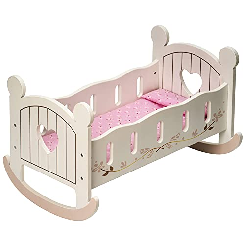 ROBUD Baby Doll Crib with Bedding 20inch Wooden Doll Rocking Cradle Play Furniture Doll Bed Fits for 18inch American Girl Dolls
