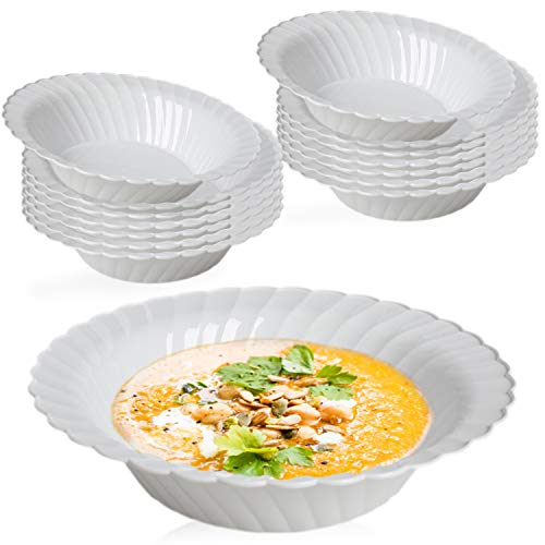 Elegant Disposable Plastic Bowls 180 Pcs - 5oz Heavyweight Fancy Flared White Soup Bowls – Reusable Bulk Party Dessert Cereal Salad Bowls For Wedding, Christmas, Thanksgiving, Birthday & All Occasions