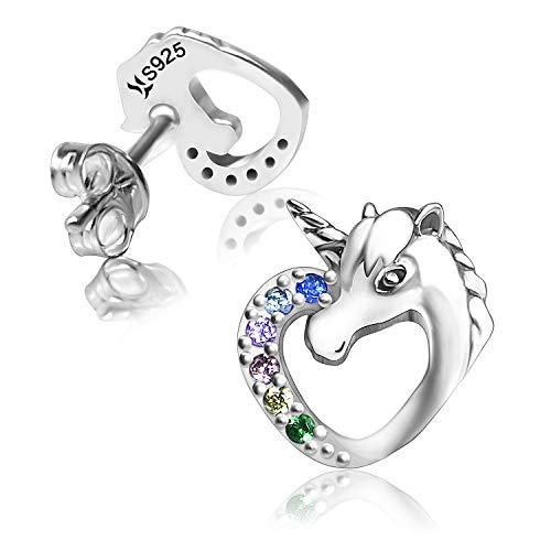 Unicornio Cubic Zirconia Pendientes S925 Pendientes de botón hipoalergénicos de plata esterlina Regalo para ella, mujeres, hija