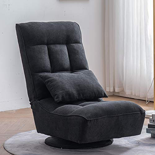 VINGLI Floor Gaming Chair, Reading Chair 360 Degree Swivel Gaming Chair Folding Video Game Chair Lazy Sofa Chair,Gaming Sofa with Adjustable Backrest/Lumbar Pillow for Relaxing at Home & Office, Black