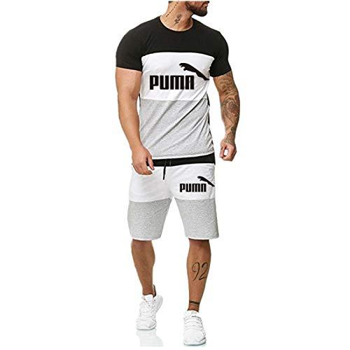 DREAMING-T-shirt a maniche corte stampata da uomo estivo + pantaloncini Tuta sportiva Tuta a contrasto colore per il tempo libero L