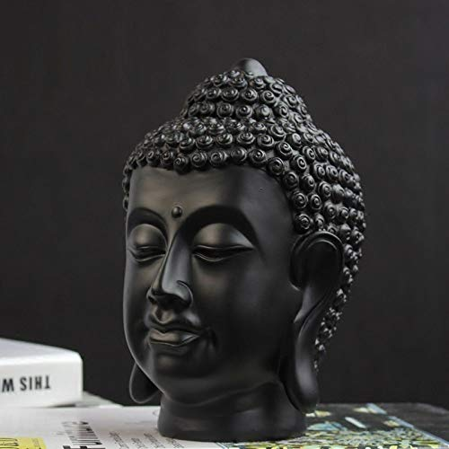 Statues Sculpture Figurines Statuettes,Creative Chinese Style Zen Black Buddha Head Figure Figurine Sculpture Collectible,Ornaments Desktop Crafts Art Décor Statuettes For Indoor Living Room Office