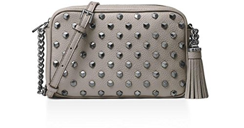 """Genuine leather with 3D stud detail at front Adjustable chain link and leather crossbody strap with 22"""" drop Top zip closure; gunmetal tone hardware Lined interior features 1 zip pocket, 1 slip pocket Approximate dimensions: 8.25""""W x 2.25""""D x 5.5""""H"""