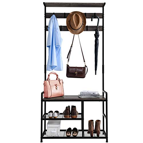 Mr IRONSTONE Coat Rack Shoe Bench 3-in-1 Hall Tree Entryway Storage Shelf Coat Rack Stand with Hanging Bar and 9 Hooks Easy Assembly Granite Grey
