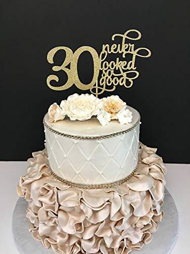Tortenaufsatz für Geburtstagskuchen mit jeder Zahl, zum 30. Geburtstag, mit Glitzer, goldfarben