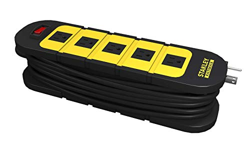 Stanley 31607 FATMAX WRAP & GO, 5-Outlet Surge Protector with 12ft Cord Manager, Black