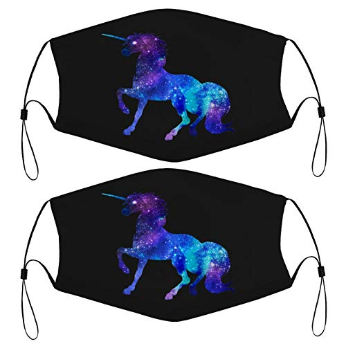 Unicorn Galaxy Squad Girls Funny Galactic Space Kids Face Mask Set of 2 with 4 Filters Washable Reusable Adjustable Black Cloth Bandanas Scarf Neck Gaiters for Adult Men Women Fashion Designs