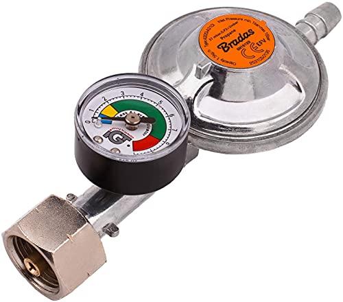 Propan Butan Gasregler 37 mbar, 1,5 kg/h mit Notventile und Messgerät, 9-10 mm Schlauch, Grill, Camping, Caravan, Klempner