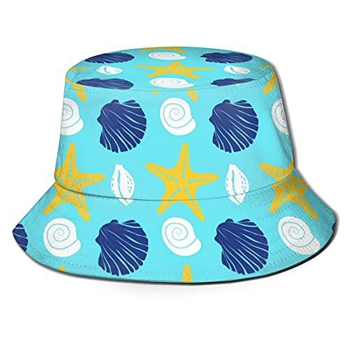 P.X.M.E. Sombrero unisex náutico, estrella de mar, concha de mar, caracol, azul, amarillo verano cubo sombrero pescador