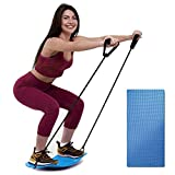 ENOKER Balance Board with Resistance Bands Fitness Board for Adults Training Yoga Board with Anti-Skid Pad for Exercise Twist Board Workout Board for Arm and Leg Balance Sports(Blue)