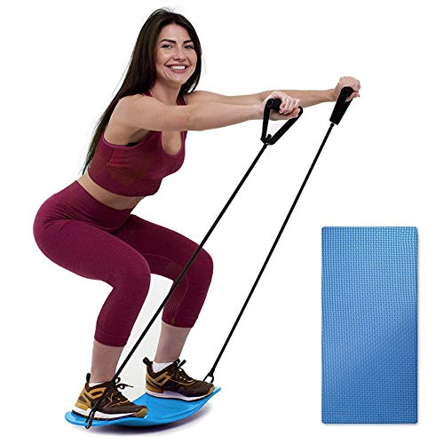 ENOKER Balance Board with Resistance Bands,Fitness Board for Adults, Balance Board for Exercise with Anti-Skid Pad,Twist Board Workout Board for Arm and Leg Balance Sports(blue))