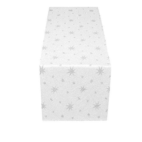 Meine-Tischdecke Lurex Sterne Weihnachtsdesign-Premiumqualität- Weiss-Creme-Rot glänzend - Weihnachtsläufer Weiss-Silber 40x170 cm