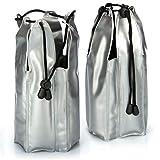 COM-FOUR® 2x Raffreddatore di bottiglie per gli spostamenti - manica di raffreddamento per champagne con coulisse - per raffreddare champagne, vino, birra e bibite (02 pezzi - 22x9cm - nastro)