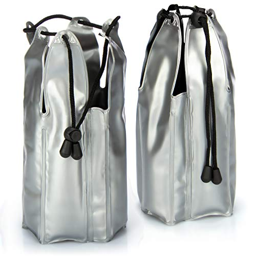 COM-FOUR® 2x Flaschenkühler für unterwegs - Sektkühler Manschette mit Zugband - Kühlmanschette zum Kühlen von Sekt, Wein, Bier und Softdrinks - Weinkühler (02 Stück - 22 x 9 cm - Band)