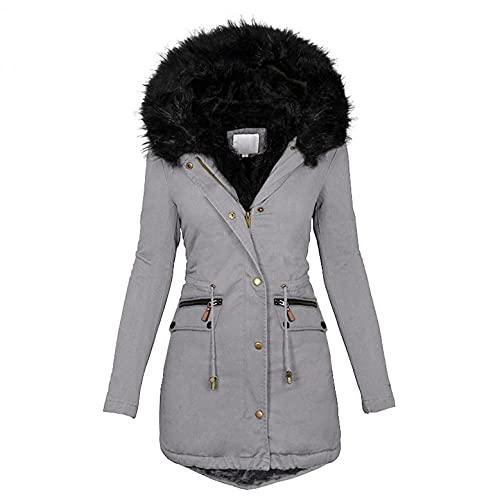 Giacca invernale lunga da donna elegante in peluche, con cappuccio, spessa, antivento, antivento, giacca trapuntata, giacca trapuntata, giacca invernale in cotone, taglie S-5XL, grigio., L