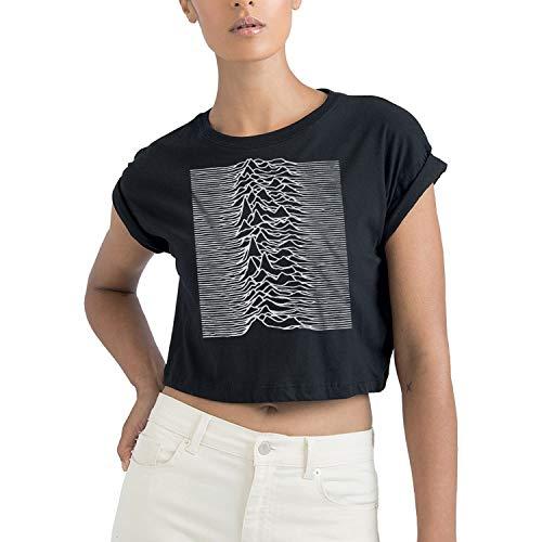 LaMAGLIERIA T-Shirt Donna Corta Joy Division Mountains Artwork - Maglietta Indie Rock Crop Top in Cotone Organico, S, Nero