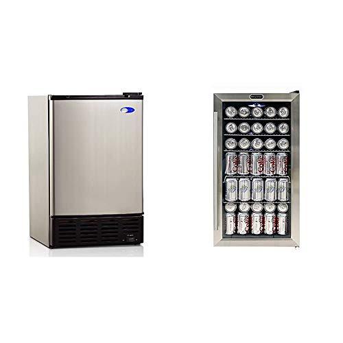 Whynter UIM-155 Stainless Steel Built-In Ice Maker & BR-130SB Internal Fan Beverage Refrigerators, One Size, Black/Stainless Steel