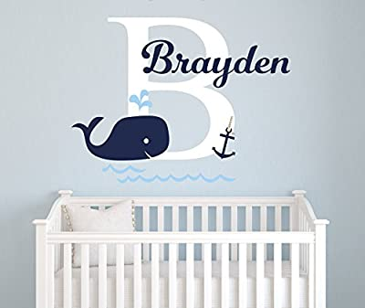 "Name Wall Decal - Whale Wall Decal - Nautical Baby Room Decor - Anchor Wall Decal - Nursery Wall Decals Vinyl (26""W x 16""H)"