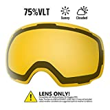 OutdoorMaster Ski Goggles PRO Replacement Lens - 20+ Different Colors ( VLT 75% Polarized Yellow...