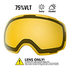 REPLACEMENT LENS - Different VLTs for different weather conditions. Over 20 different colored lenses, including 3 polarized options. CHOOSE YOUR STYLE - More than 20 different colors. IMAGINE a unique style for each day in the slope! ANTI-FOG TECHNOL...